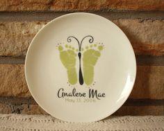 Porcelain Keepsake Plate. Baby footprint art by MyForeverPrints, $35.00