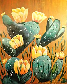 Prickly Pear Cactus Desert Scene Landscape Floral Acrylic Painting on 16x20 Stretched Canvas by artist Jennifer Harris Fine Art Gallery Art by BrilliantColorsbyJen on Etsy