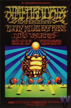 Classic rock concert psychedelic poster - Hendrix Experience at Winterland, SF, Oct. 10-12 1968.  Artist Griffin and Moscoso.