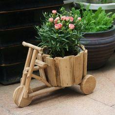 Hecho a mano Modelo de Triciclo Maceta Jardinera De Madera Decorativos de La Novedad Regalo y Artesanía Adorno Baratija Accesorios Embellecimiento