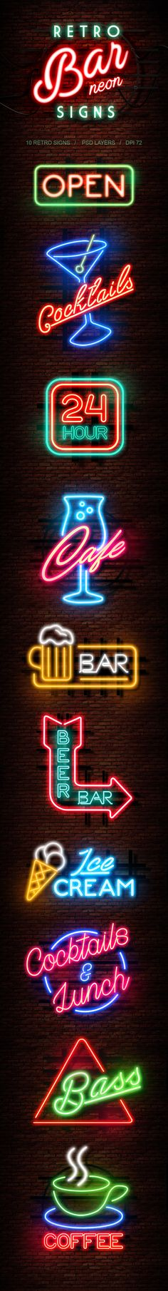 Retro Bar Neon Signs — Photoshop ASL #psd #typography • Download ➝ https://graphicriver.net/item/retro-bar-neon-signs/19739676?ref=pxcr