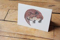 Carte postale de la Loutre d'Europe by Aurore L'hiver Naît