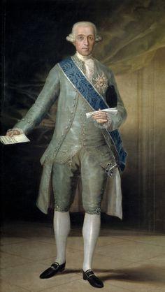 """Francisco de Goya: """"José Moñino y Redondo, conde de Floridablanca"""". Oil on canvas, 196 x 116,5 cm, 1783. Museo Nacional del Prado, Madrid, Spain"""