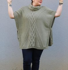 Wool Poncho Hand Knit Cape Green Winter Poncho Plus Size Thick Sweaters, Plus Size Sweaters, Cable Knit Sweaters, Knitted Cape, Knitted Poncho, Plus Size Winter Outfits, Plus Size Outfits, Winter Poncho, Plus Size Fashion For Women