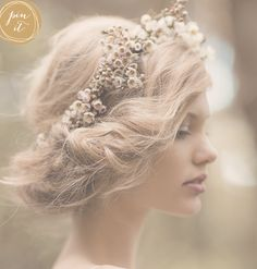 Beautiful hair by #nataliedent.  Floral wreath by #leafandhoney