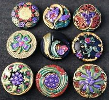 Collection of 9 Czech ANTIQUE (1920's) Glass Buttons #G330 - RARE !!!