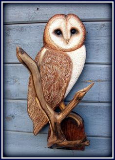 BARN OWL wood carving owl art Christmas gift wildlife by WOODNARTS, $150.00