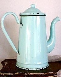 Vintage Large French Shabby Aqua Blue Enamelware Coffeepot