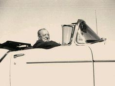 Mies in his own yellow car