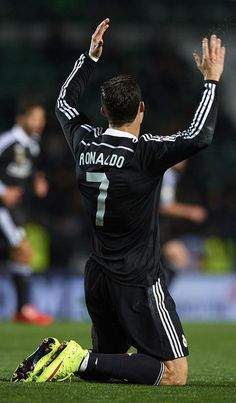 Cristiano Ronaldo of Real Madrid reacts during the La Liga match between Elche FC and Real Madrid CF at Estadio Manuel Martínez Valero on February 22, 2015 in Elche, Spain.