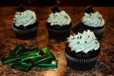 Chocolate Mint Cupcakes with Vanilla-Mint Whipped Buttercream and Andes Candy topper.... There are also flecks of Andes candies in the buttercream... YUM! https://www.facebook.com/StefsEvents #Chocolate #Cupcake with #Vanilla #Mint Whipped #Buttercream and #Andes Candy topper.... There are also flecks of Andes candies in the buttercream... YUM!