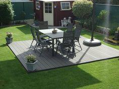 Composiet terras met tuinset Summer Garden, Patio, Outdoor Decor, Home Decor, Terrace, Interior Design, Home Interior Design, Home Decoration, Decoration Home