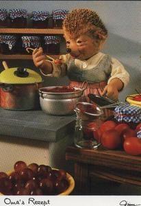 Frau Mecki macht Kompott ein AK Mecki original Diehl Nr. 531 neu ungelaufen Oma Marmelade einkochen Konserven