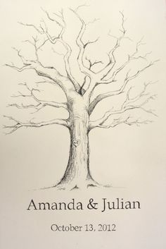 Guestbook Fingerprint Tree Hand-drawn. $100.00, via Etsy.