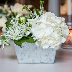 Add an element of industrial style to your wedding reception with these Galvanized tin rectangular planters. Made from galvanized tin, these planters will complete your industrial wedding theme. Wedding Table Centerpieces, Floral Centerpieces, Flower Arrangements, Centerpiece Ideas, Rectangular Planters, Large Planters, Flower Decorations, Wedding Decorations, Galvanized Planters