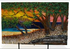 "Fused Glass Art by Donna Sarafis ""Sunset Lake"""