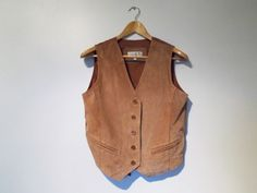 Suede Leather vest Women Light brown by Prettyawesomevintage