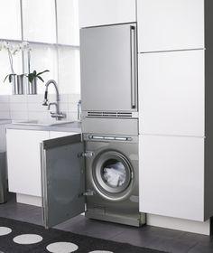 Asko integra la lavadora y la secadora en tu cocina Laundry Area, Laundry Room, Cocinas Kitchen, Ideas Prácticas, Hotel Apartment, Cute Signs, Stacked Washer Dryer, Autocad, Toilet