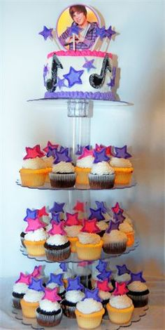 Justin Bieber Birthday Cake and Cupcake Tower