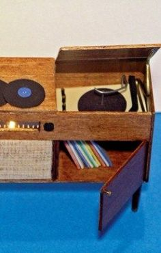 complete instructions and materials for miniature 1950s vintage style entertainment centre (record player, storage) -