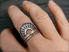 deco sterling silver ring by sirenjewels on Etsy
