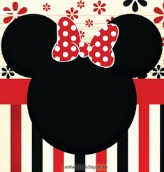 Minnie with Red, Yellow and Black Stripes: Free Printable Mini Kit. Minnie Mouse Roja, Minnie Mouse Stickers, Minnie Mouse Theme Party, Mickey Mouse Head, Mickey Party, Mickey Mouse Birthday, Disney Classroom, Disney Printables, Party Printables