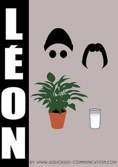 Affiche minimaliste/flat design de Léon (Luc Besson). Par Adeline, graphiste à Angers.