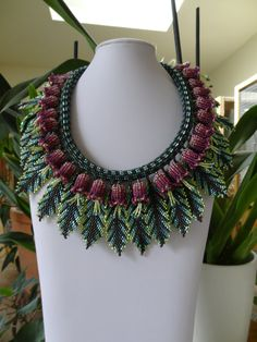 Tropical Flowers and Leaves Bead Woven Necklace by gayhuntley on etsy