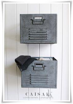 galvanized locker drawers on the wall