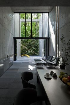 Amazing modern home, concrete, mies van der rohe chairs, barcelona chairs, mid-century modern, modernist design.