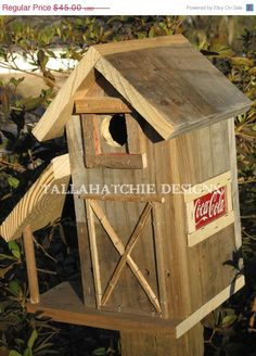 Tractor Shed Barn Style Wood Birdhouse Rustic Barn Birdhouse Primitive Birdhouse…
