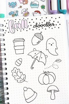 Best bullet journal doodles for fall & halloween Starting your fall theme and need some deocration ideas? Check out these Fall and Halloween step by step bullet journal doodle tutorials for inspiration! Autumn Bullet Journal, Bullet Journal Ideas Pages, Bullet Journal Inspiration, Book Journal, Bullet Journals, Halloween Doodle, Fall Halloween, Kawaii Halloween, Halloween Drawings
