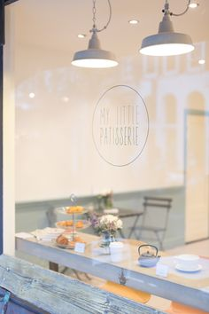 "My little patisserie, a Parisian style bakery in Eerste van de Helststraat Amsterdam (De Pijp) specialized in patisseries with cream. You can also take a coffee in this beautiful ""petit"" bakery. Cafe Restaurant, Restaurant Design, Bakery Design, Cafe Design, Cafe Interior, Shop Interior Design, Decoration Patisserie, French Cafe, French Coffee Shop"