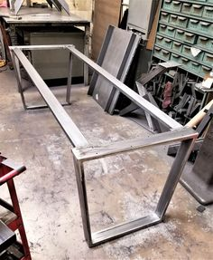 Trapezoid Steel Legs with 2 Braces, Model Dining Table Industrial Legs, Set of 2 Legs and 2 Braces Metal Work Bench, Metal Table Legs, Metal Dining Table, Dining Table Design, Steel Table, Dining Room Table, Steel Furniture, Table Furniture, Cool Furniture