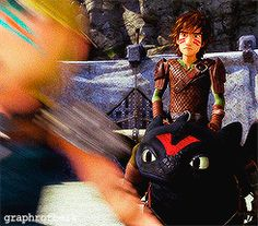 Hiccup and Astrid's reaction to Tuffnut's race paint