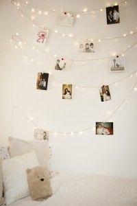 Unique fairy light wall using 100 LED fairy lights.