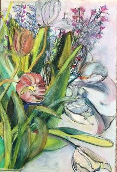 Cloudy Day Tulips by Stephanie Rose Bird, pastel on paper, 2015.