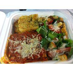 Beef lasagna garlic bread and salad was todays lunch