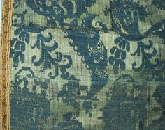 Antique 18th century Continental silk/linen lampas fragment in indigo and emerald