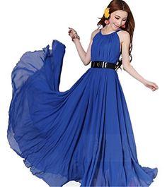 32b7967d226 Demarkt Femme Sexy Longue Robe en Voile Sans Manches Couleur Vert Bleu  Orange Taille Unique (