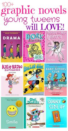 100 Graphic Novels that Young Tweens will LOVE! - Kids Audio Books - ideas of Kids Audio Books - 100 Graphic Novels for Young Tweens perfect for transitioning from picture books to chapter books! Audio Books For Kids, Childrens Books, Books For Tween Girls, Best Books For Tweens, Middle School Books, Dork Diaries, Library Books, Ya Books, Reading Library