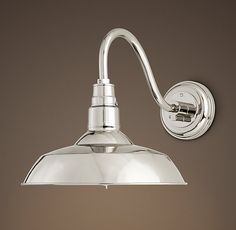 """Vintage Barn Sconce Exterior fixture Restoration Hardware $179- fo 10"""" dia. shown in polished nickel (or white or grey enamel)"""