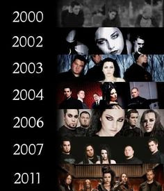 Timeline throughout out the years can't believe it has been over 12 years 2016 Music Tv, Music Songs, Metal Board, Bring Me To Life, Amy Lee Evanescence, Breaking Benjamin, Escape The Fate, Hollywood Undead, Amazing Music