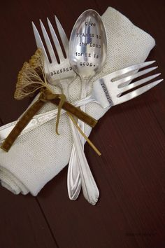 Three Piece Vintage Serving Set Hand Stamped for your Thanksgiving Table.