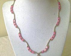 ON SALE Beautiful tila beaded necklace, tila necklace, beadwork necklace, seed necklace, pink necklace