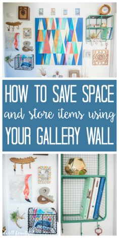 How to Save Space by Using a Gallery Wall - keep books, magazines, keys, and more organized with this clever DIY idea - by hiding storage within your art gallery wall!