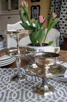 Vintage footed silver compotes from the thrift store | 11 Magnolia Lane