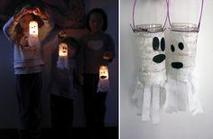 Ghost lanturn made from small pot and paper.  Spook lantaarn van potje en papier.