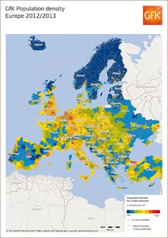 Map - Population density in Europe, 2012 by GfK #map #europe