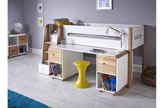 Picture features Stompa Curve Midsleeper Children's Bed with large pull out desk and two soft close solid oak doors. Midsleeper dimensions x x Desk dimensions x x